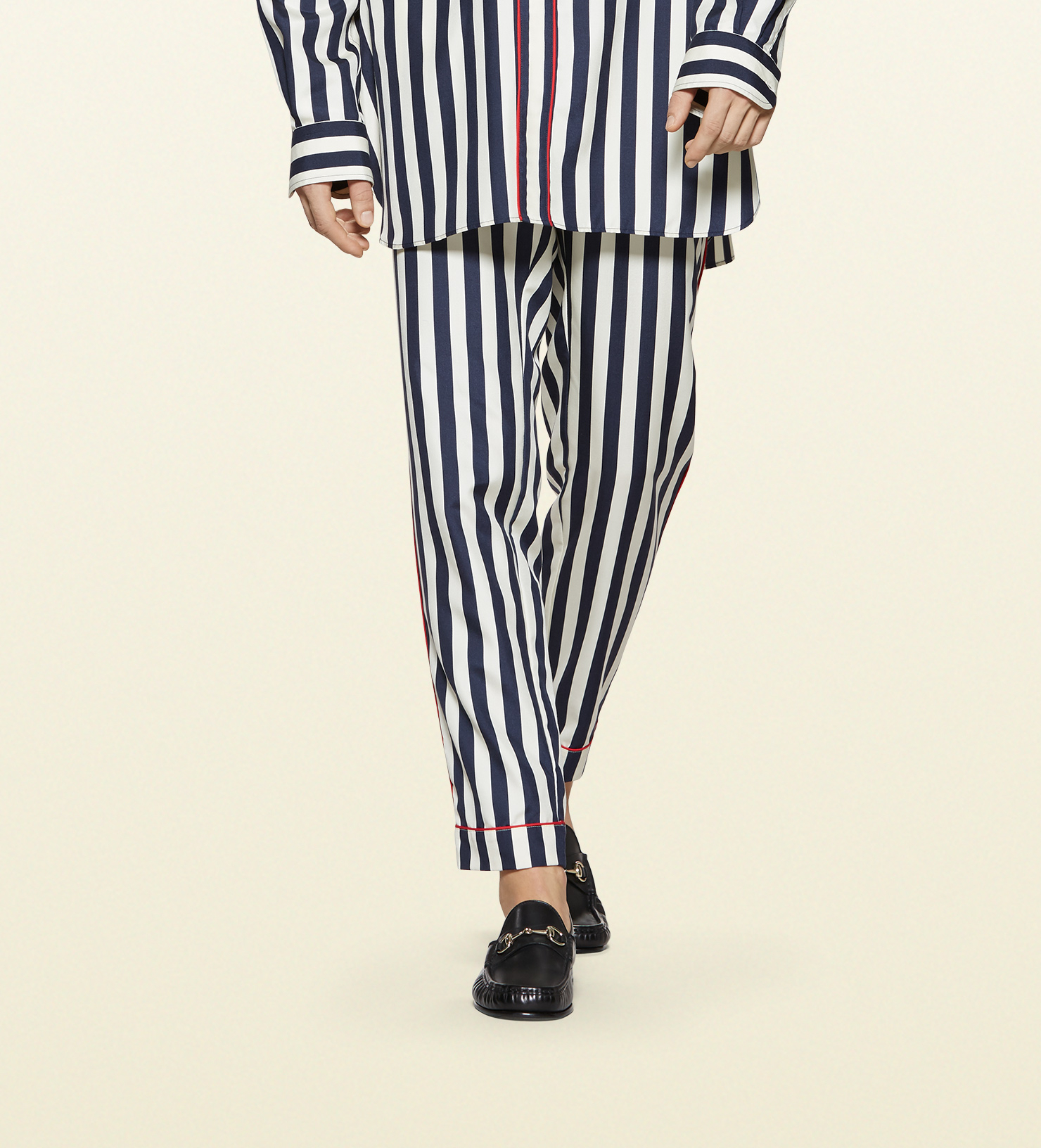 Fallon's black and white striped silk pajamas on Dynasty. Pajamas: Lila Striped Silk-Satin Pajama Set by Olivia von Halle. Featured on: Dynasty episode