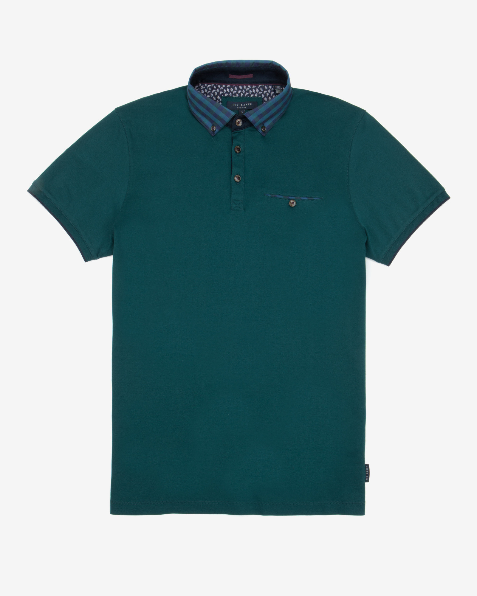 Ted baker checked collar polo shirt in teal for men lyst for Mens teal polo shirt