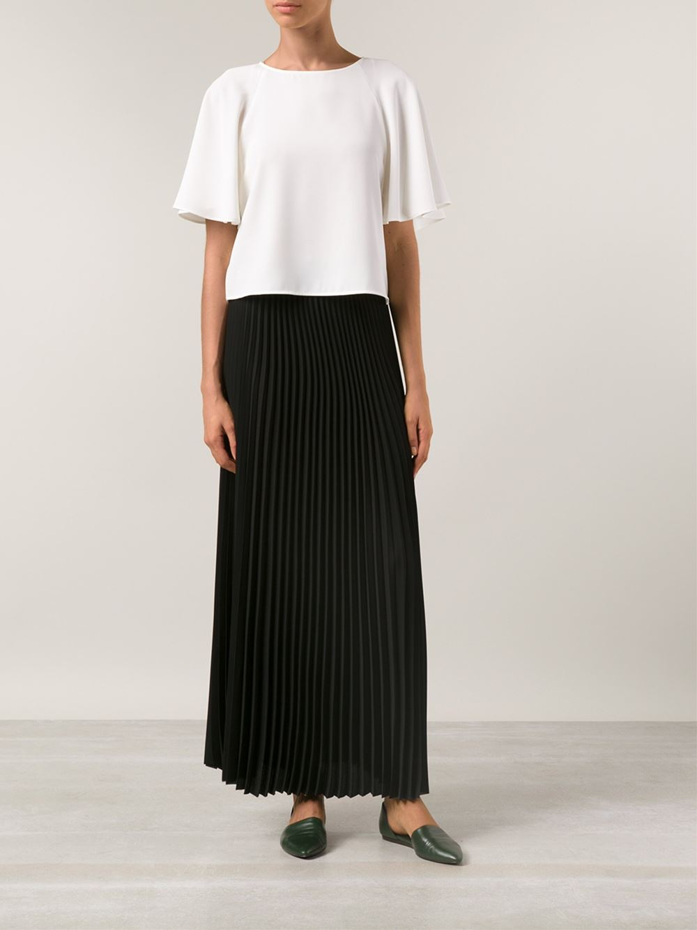 Sea Long Pleated Skirt in Black | Lyst