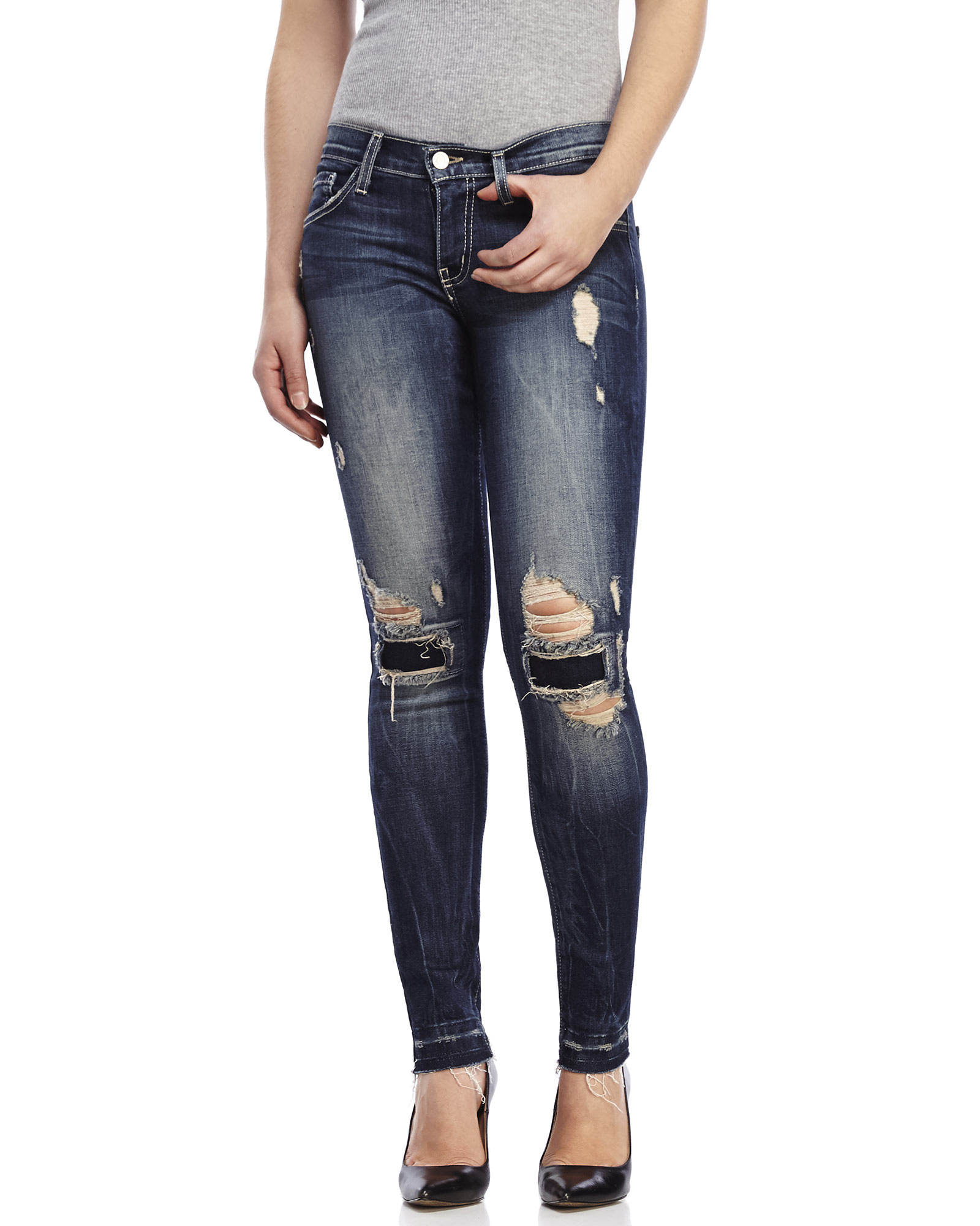 Patch up knees jeans made