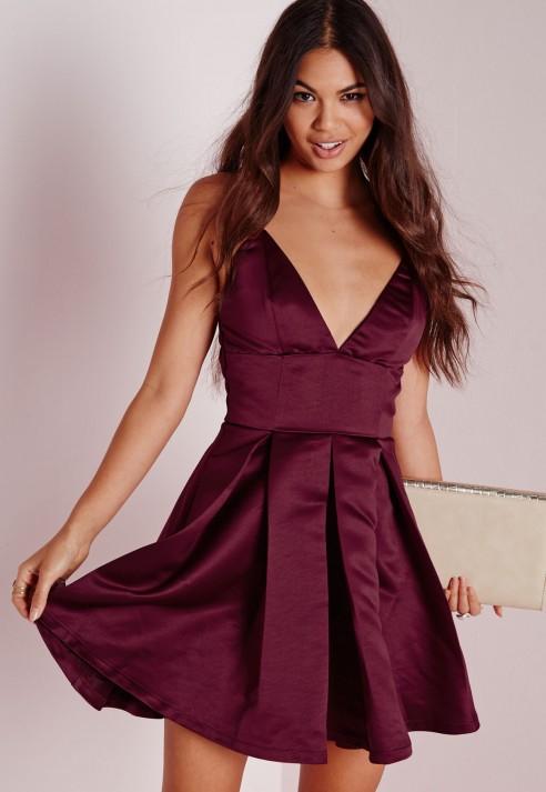Missguided Satin Plunge Structured Skater Dress Burgundy in Purple ... 8778d0167