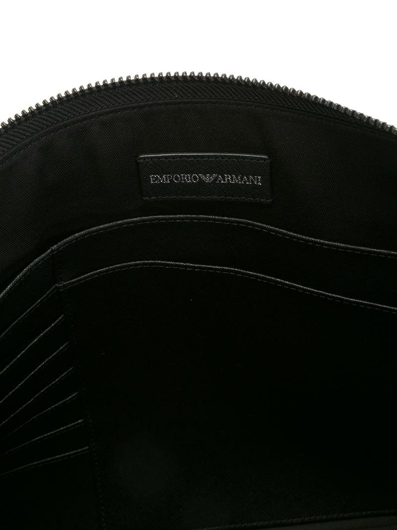 Lyst emporio armani logo print clutch in gray for men - Emporio giorgio armani logo ...