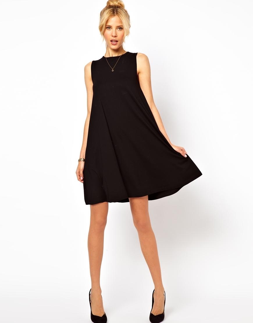b4a5856553e5 ASOS Sleeveless Swing Dress in Black - Lyst