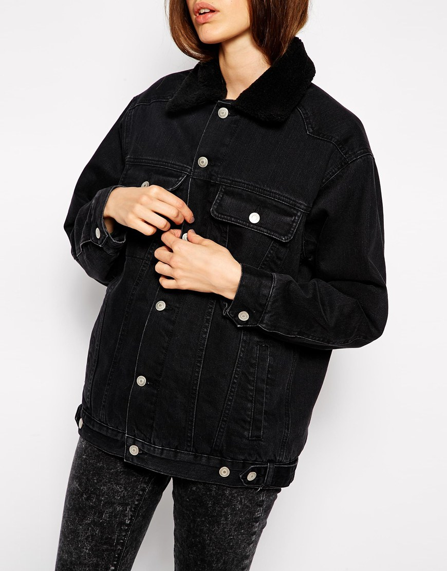 3701f5e01862 Lyst - ASOS Denim Jacket In Washed Black With Borg Collar And Lining ...