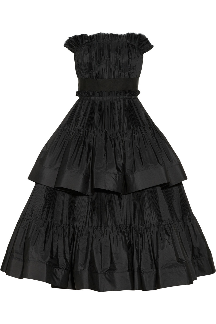 Lanvin Tiered Pleated Taffeta Dress In Black Purple Lyst