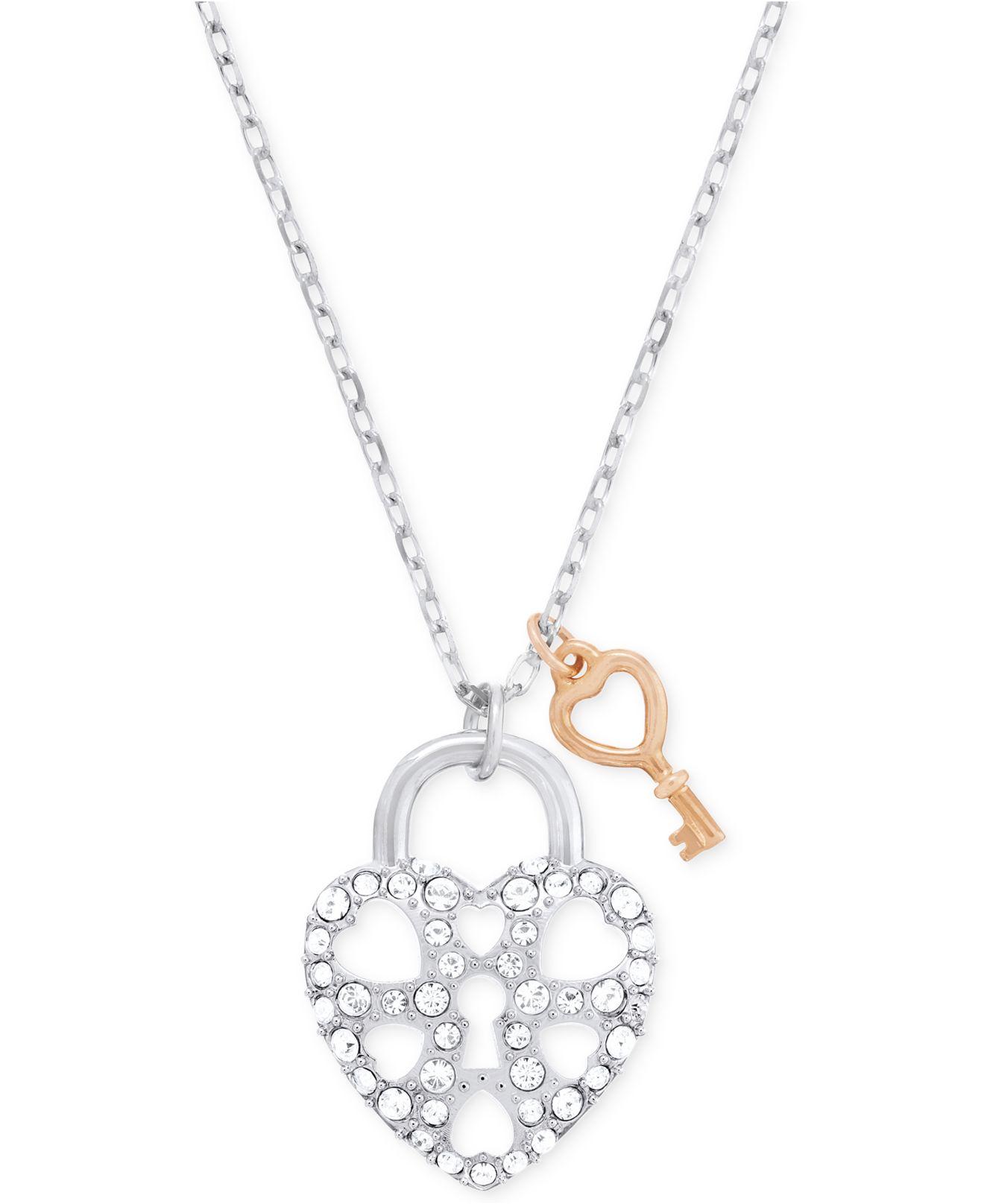 Lyst swarovski two tone tasha heart lock pendant necklace in metallic gallery aloadofball Gallery