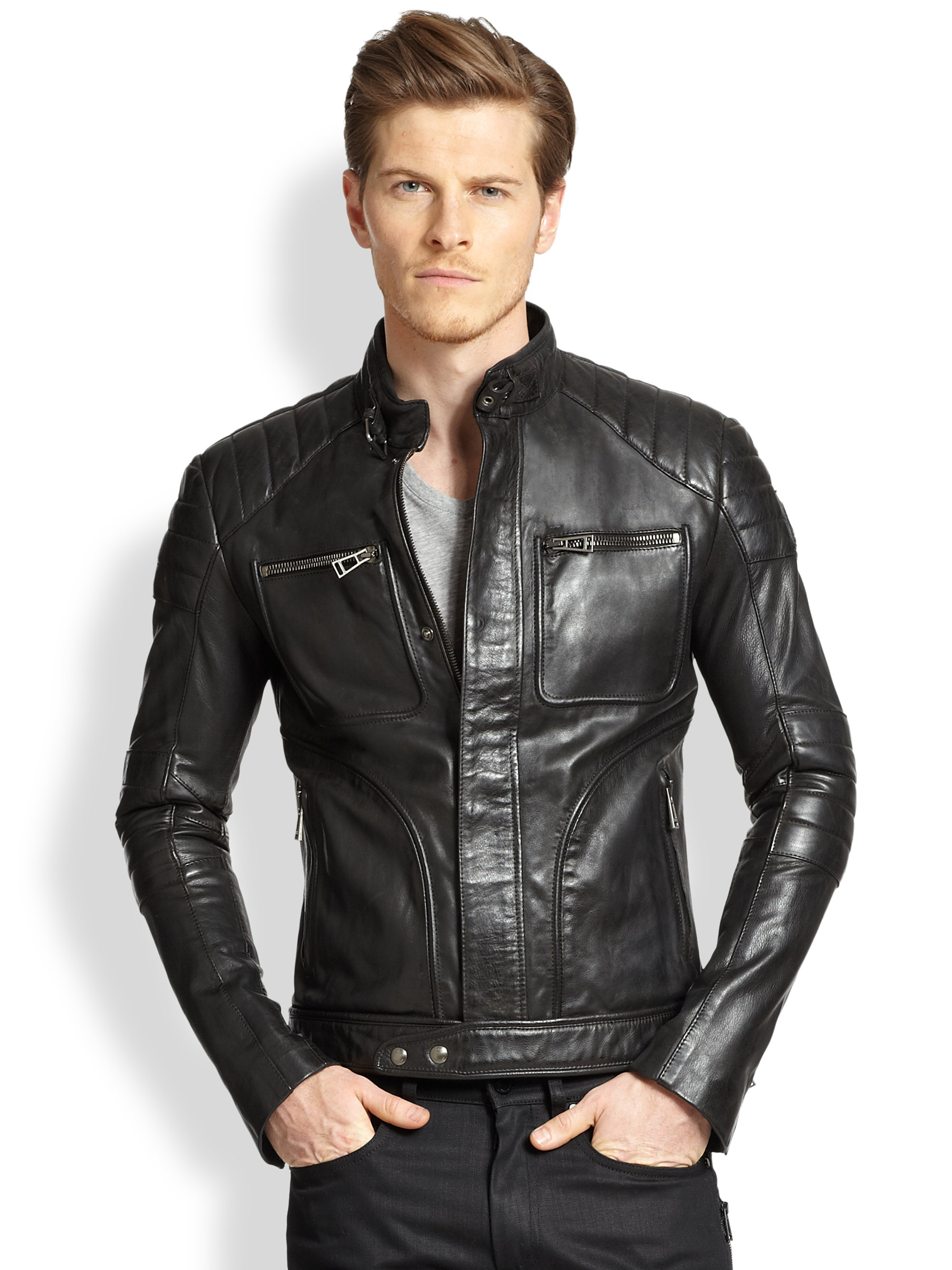 Product Features Faux-leather moto jacket featuring stand collar with zipper.