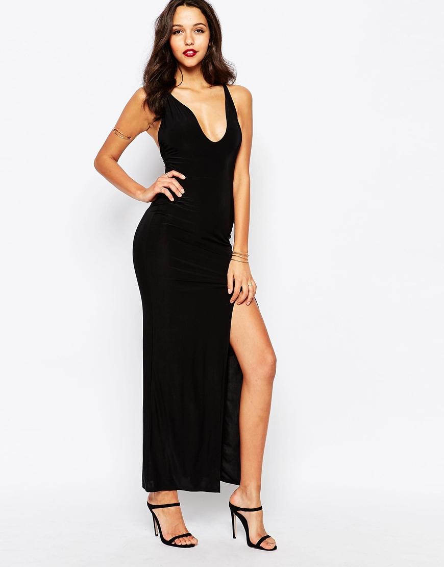 0dd673ec25929 Lyst - Boohoo Thigh High Split Maxi Dress in Black