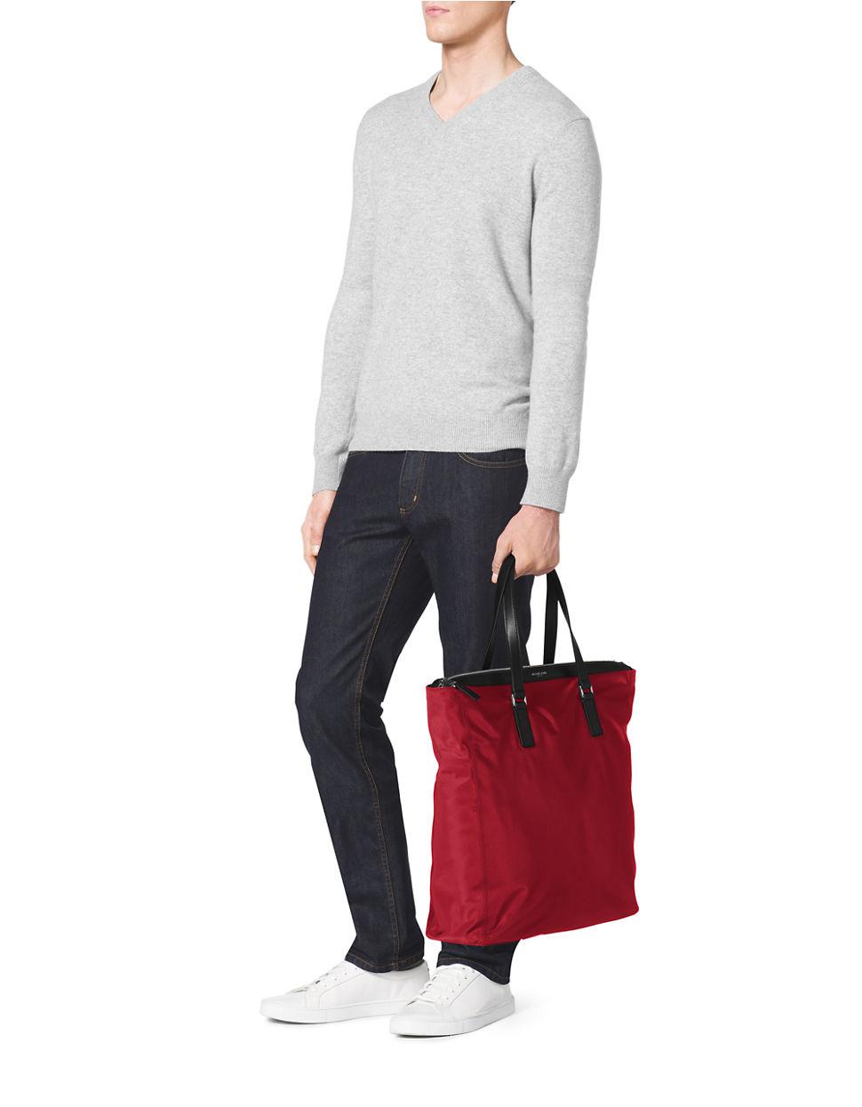 Bolsa Michael Kors Nylon : Michael kors nylon large tote in red for men lyst
