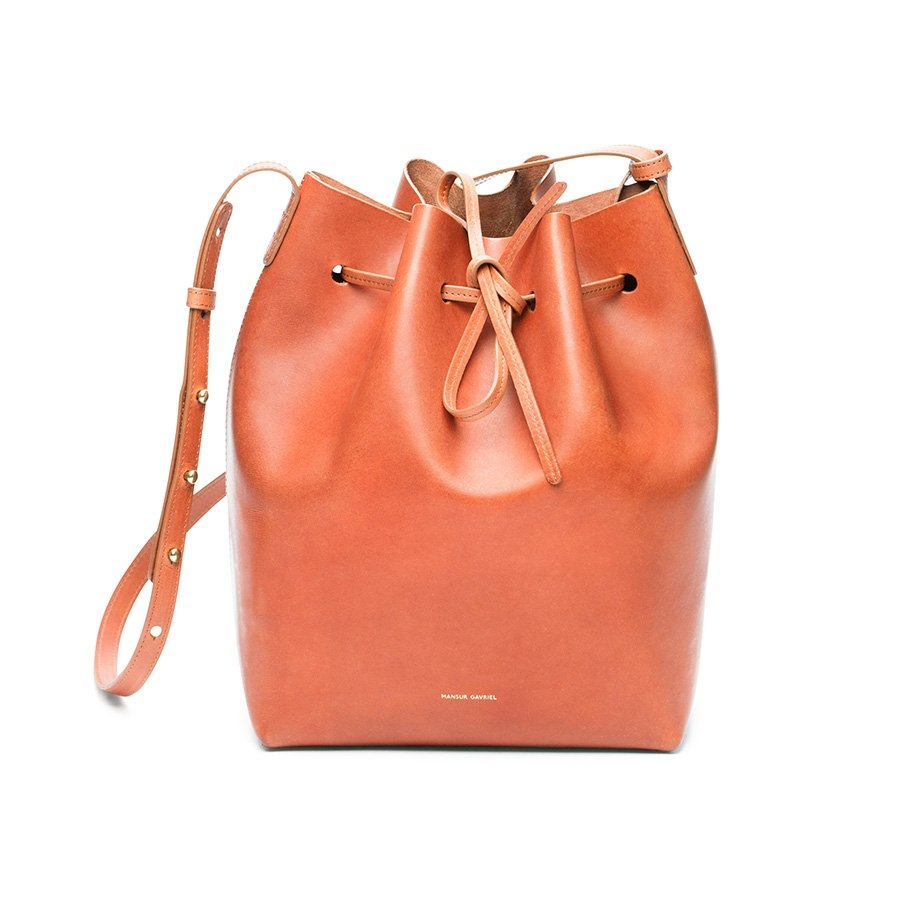 mansur gavriel bucket bag in raw brandy in brown lyst. Black Bedroom Furniture Sets. Home Design Ideas