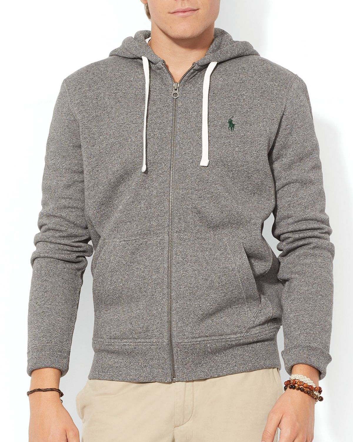 lyst ralph lauren polo classic fleece full zip hoodie in gray for men. Black Bedroom Furniture Sets. Home Design Ideas