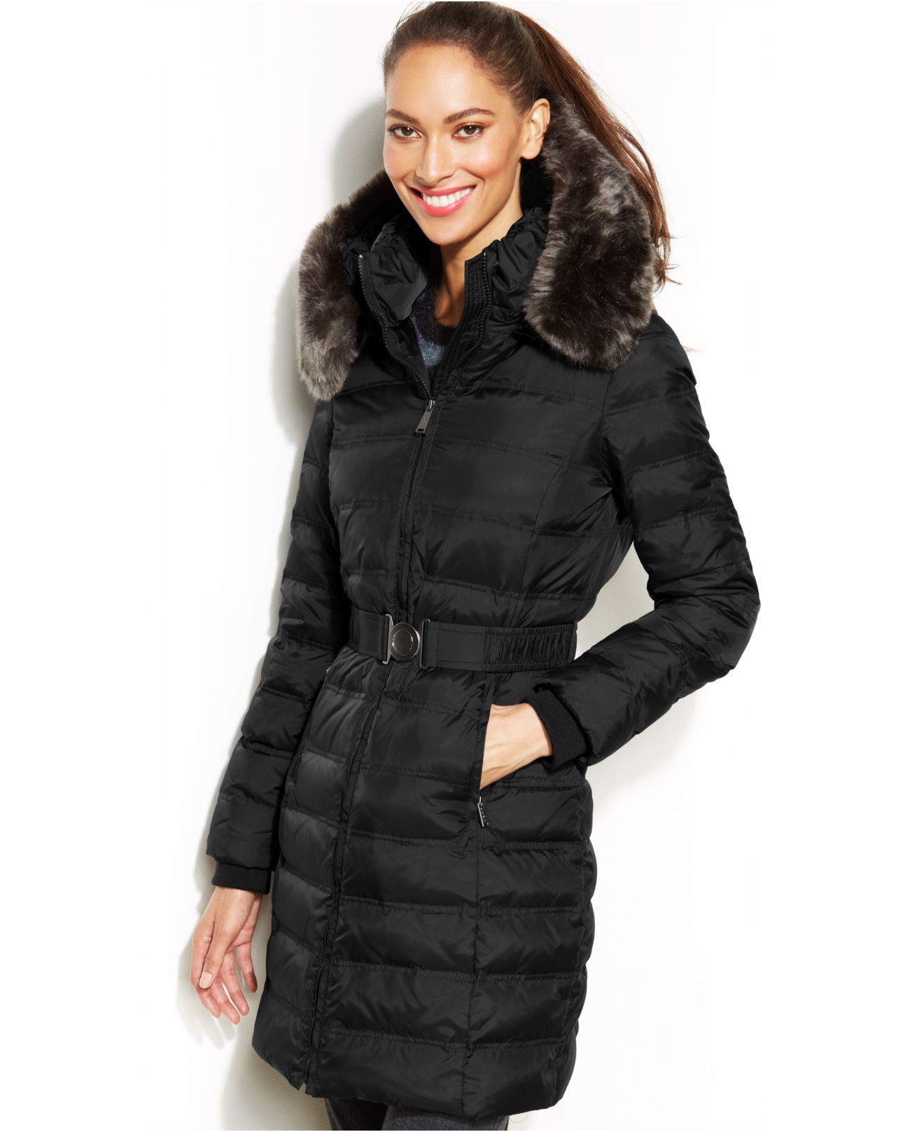 Dkny Hooded Faux-Fur-Trim Belted Down Puffer Coat in Black | Lyst
