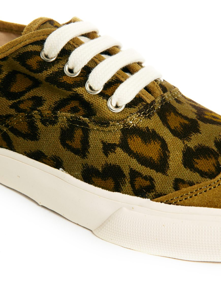 fe447e94637 Lyst - YMC Lace Up Leopard Print Trainers in Green
