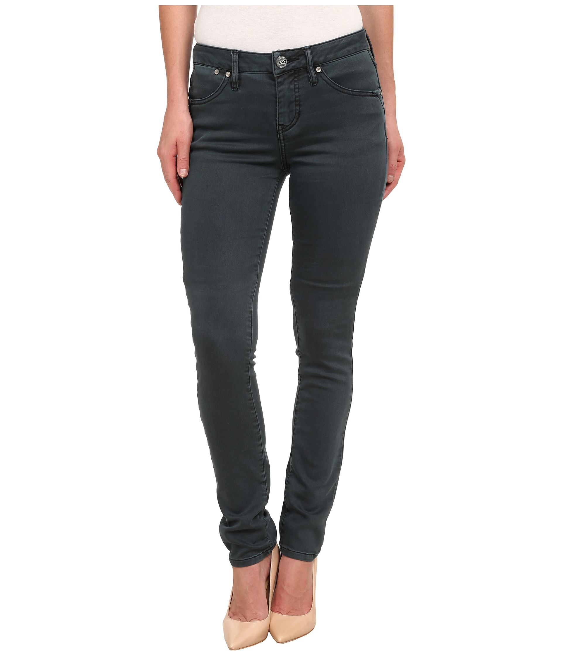 Lyst - Jag Jeans Janette Mid Rise Slim Knit Denim In Moody in Gray