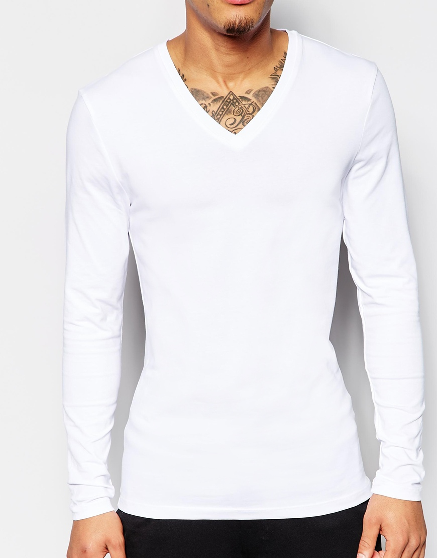 3be2e0223 ASOS Extreme Muscle Fit Long Sleeve T-shirt With V Neck And Stretch ...