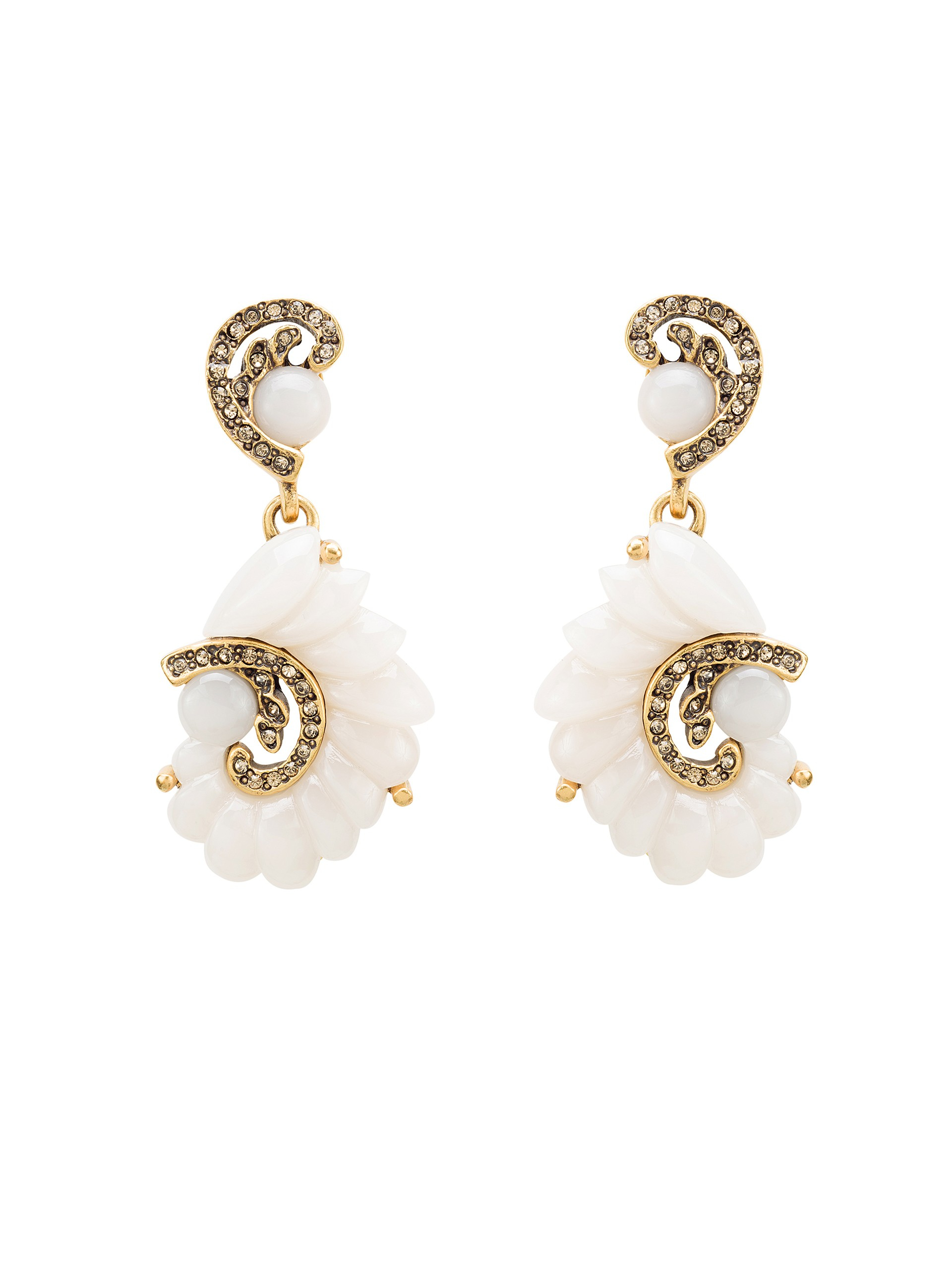 6a3ff8be02bd1 Lyst - Oscar de la Renta Resin Swirl Scalloped Earrings in Metallic