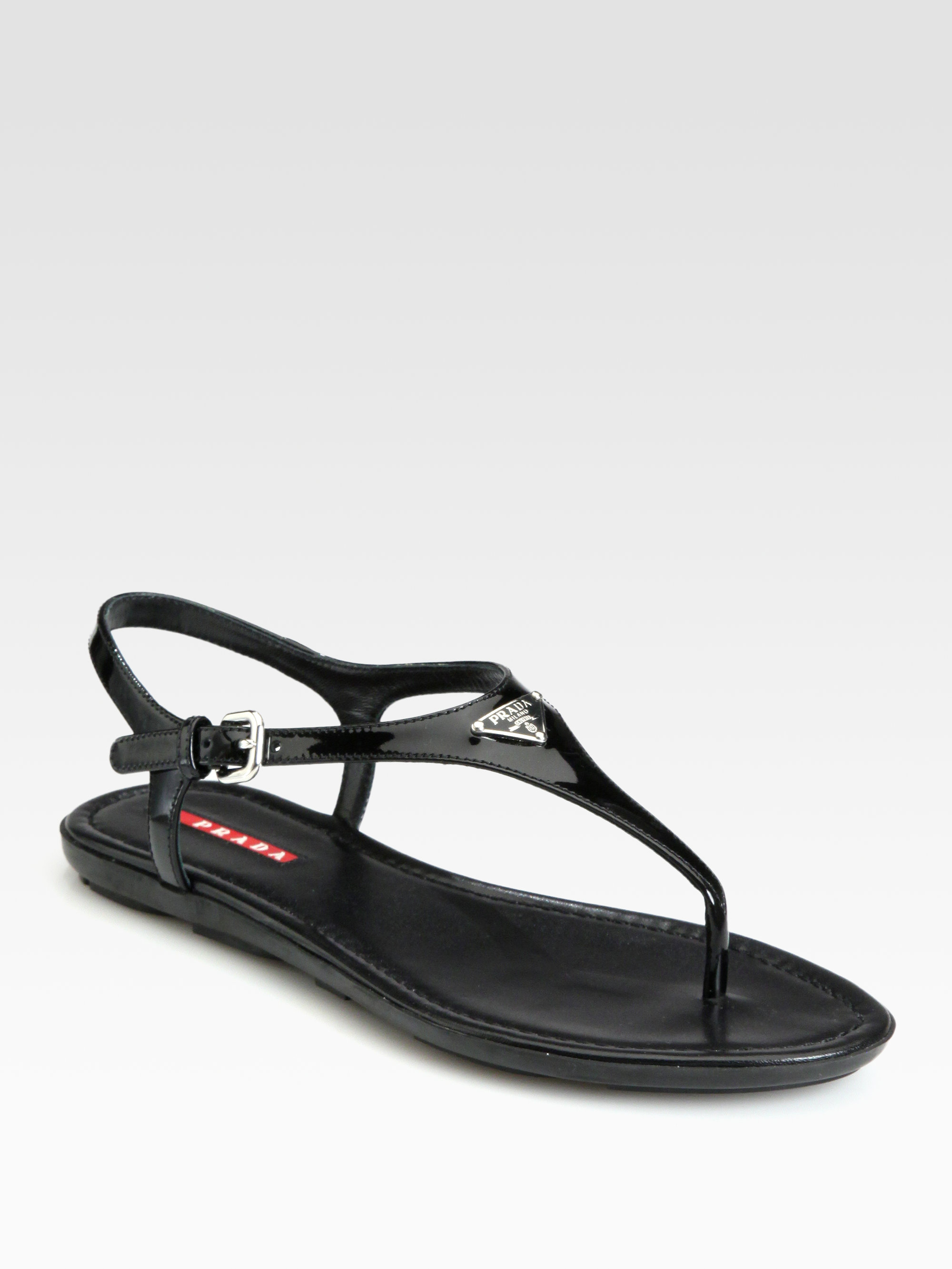 94d651ce8a83 Prada Patent Leather Thong Sandals in Black - Lyst