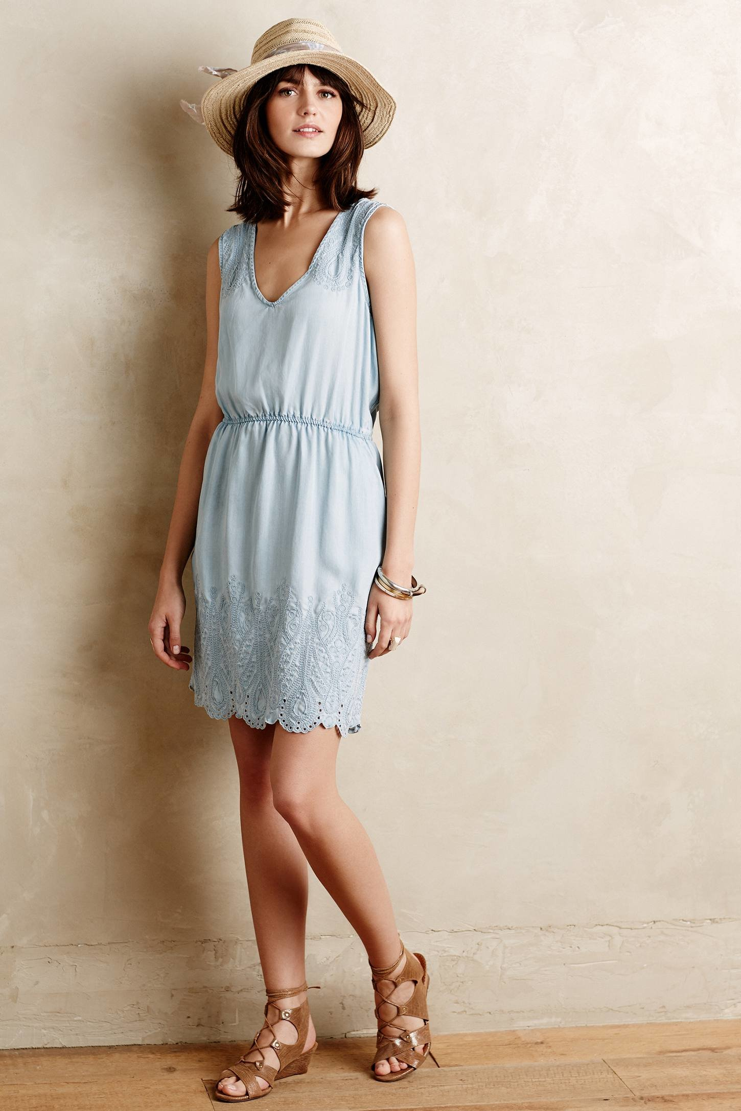 Lyst Holding Horses Embroidered Chambray Dress In Blue