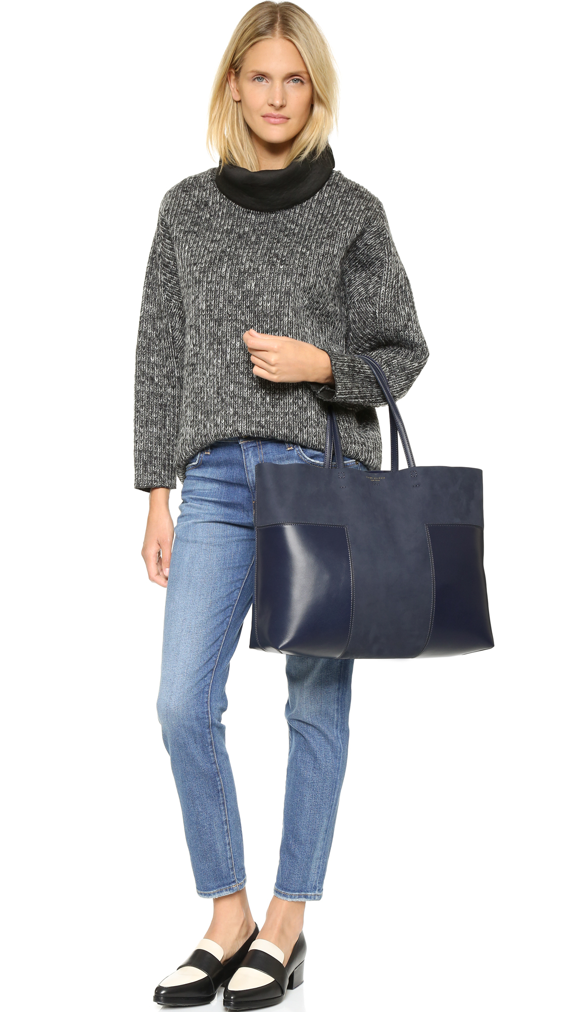 b2b439162cf2 Lyst - Tory Burch Block T Large Tote - French Gray in Blue