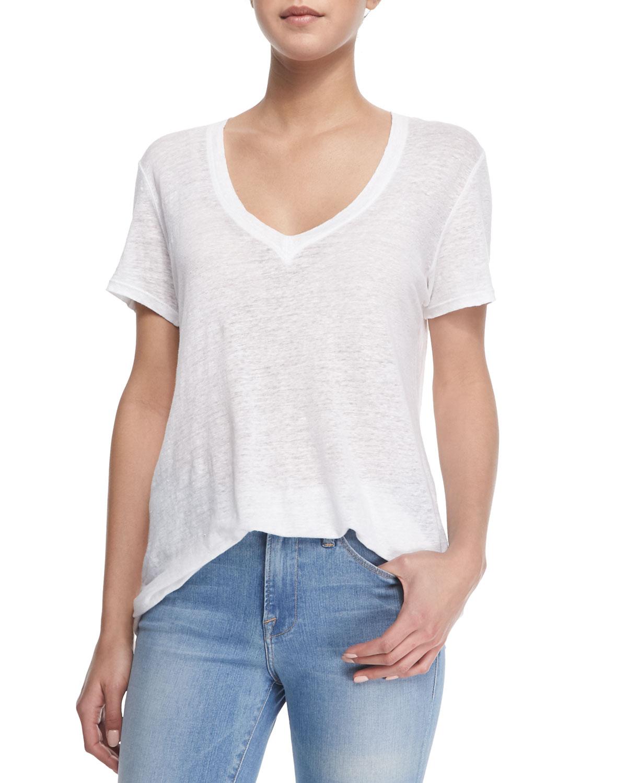 da986780c4 Lyst - FRAME Le Boyfriend Linen V-neck T-shirt in White
