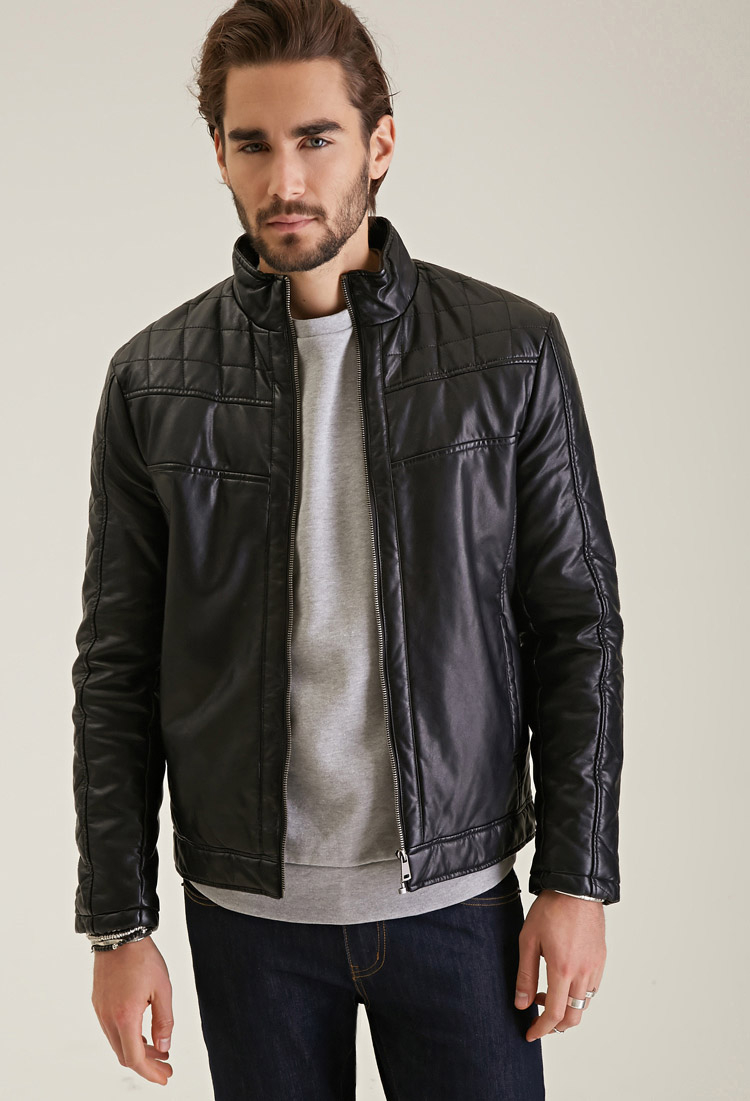 Lyst Forever 21 Quilted Faux Leather Jacket In Black For Men