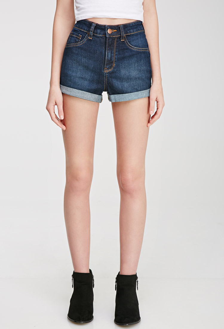 how to wear high waisted denim shorts