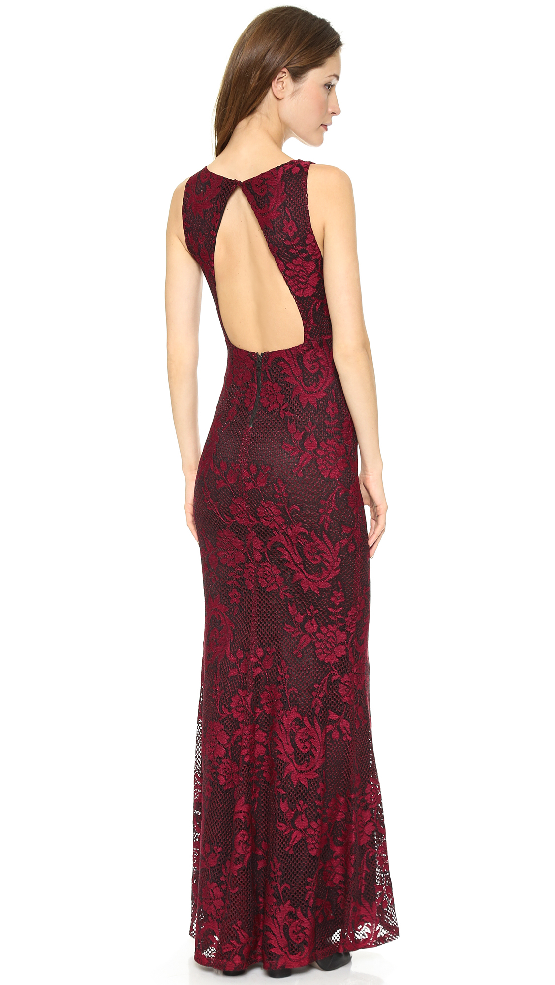 Alice Olivia Sachi Open Back Maxi Gown In Red Lyst