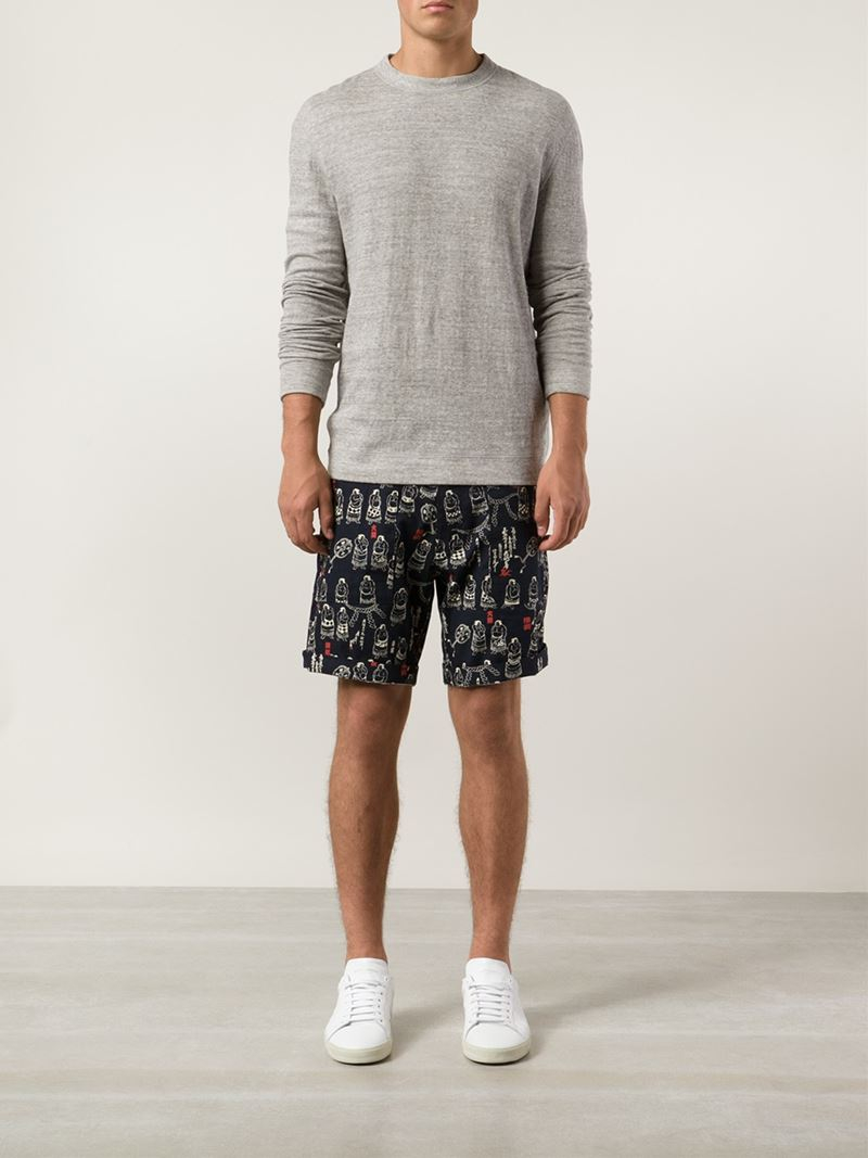 4dd1b38a18 Naked & Famous Printed Bermuda Shorts in Blue for Men - Lyst