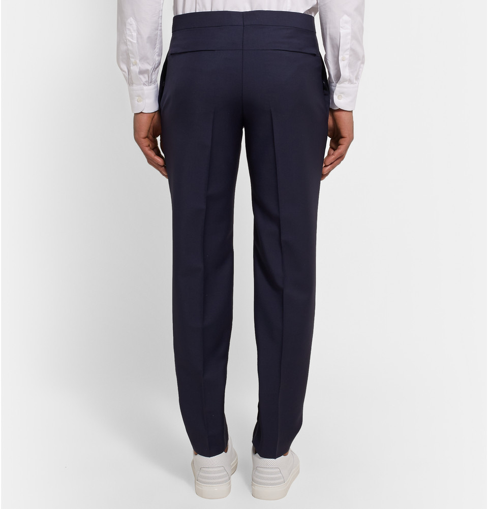 Black Slim-fit Glittered Grosgrain-trimmed Wool And Mohair-blend Tuxedo Trousers Lanvin oo2u2v6lGx