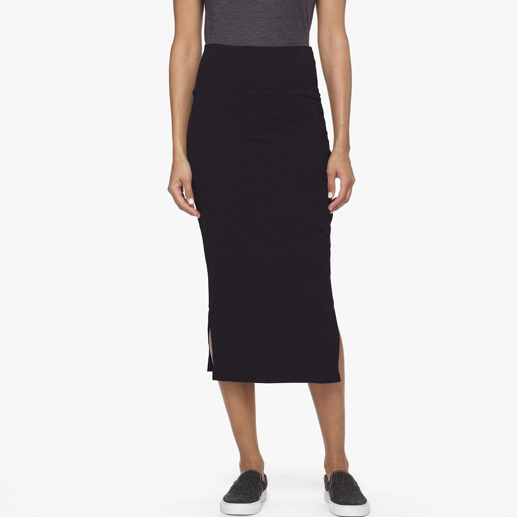 split midi skirt in black lyst