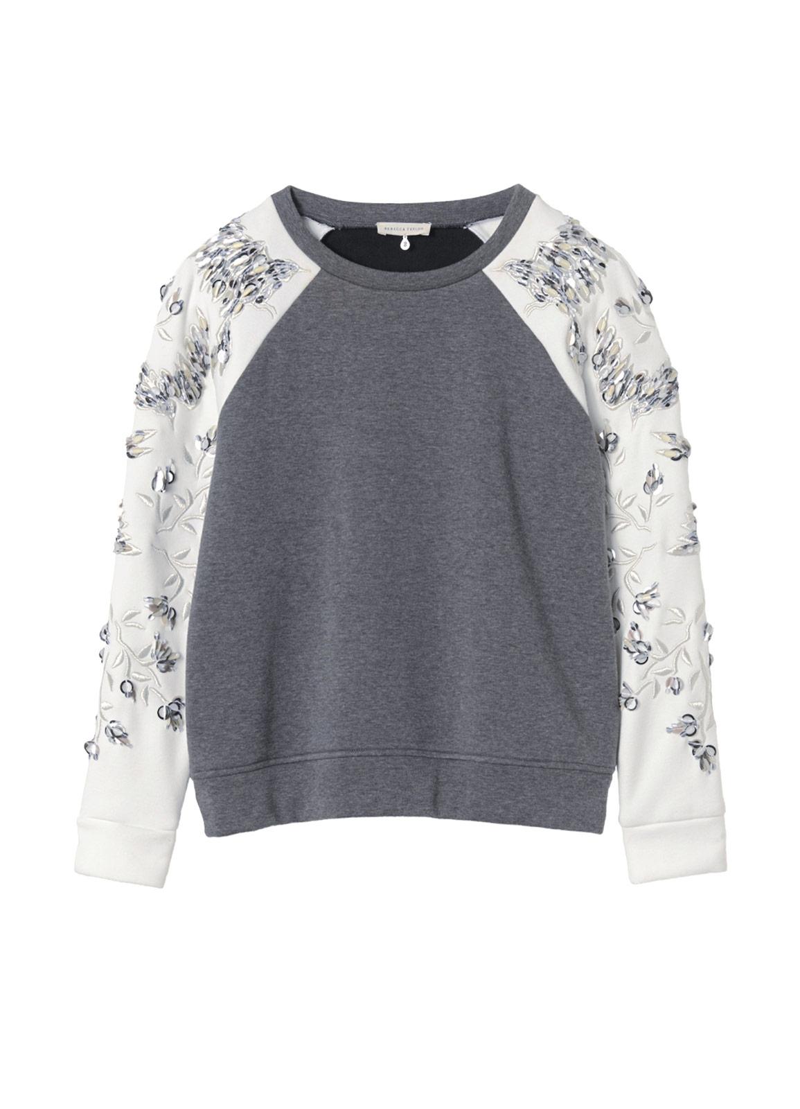 Rebecca Taylor Embellished Sleeve Sweatshirt In Gray Lyst