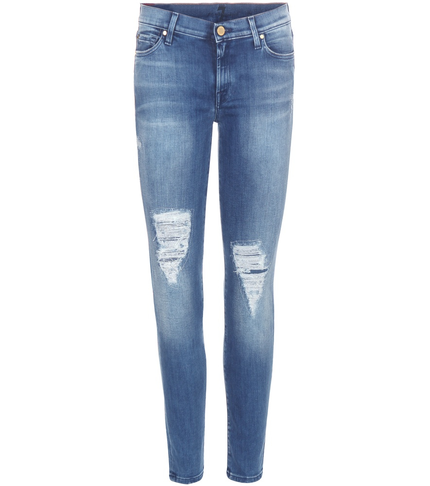 for all mankind the skinny crop jeans in blue lyst. Black Bedroom Furniture Sets. Home Design Ideas