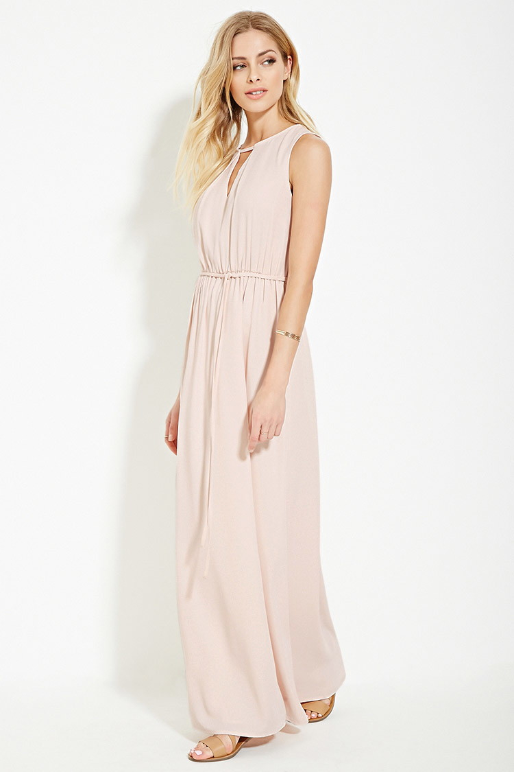 Forever 21 Contemporary Cutout Maxi Dress in Natural | Lyst