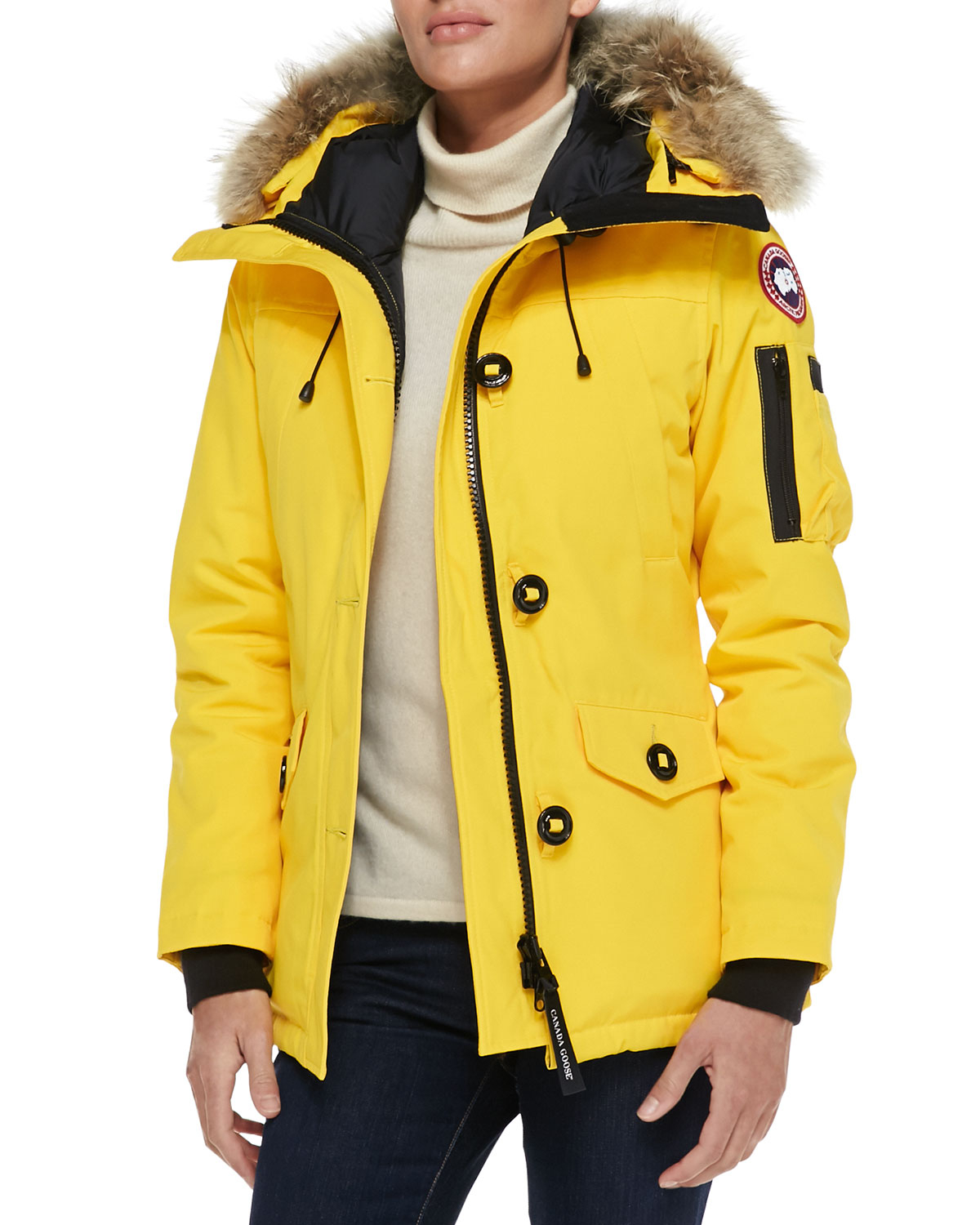 Canada Goose womens replica price - Canada goose Montebello Parka With Fur Hood in Yellow (NAVY) | Lyst
