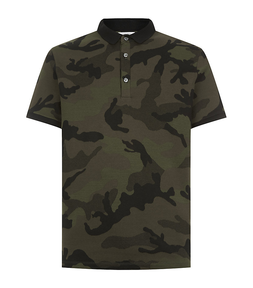 Valentino contrast collar camouflage polo shirt in green for Camo polo shirts for men