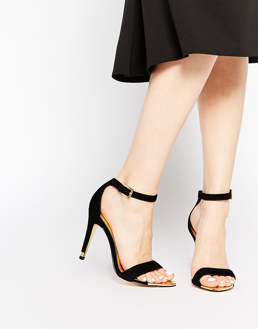 cb21a5f9c Lyst - Ted Baker Juliennas Black Suede Barely There Heeled Sandals in Black