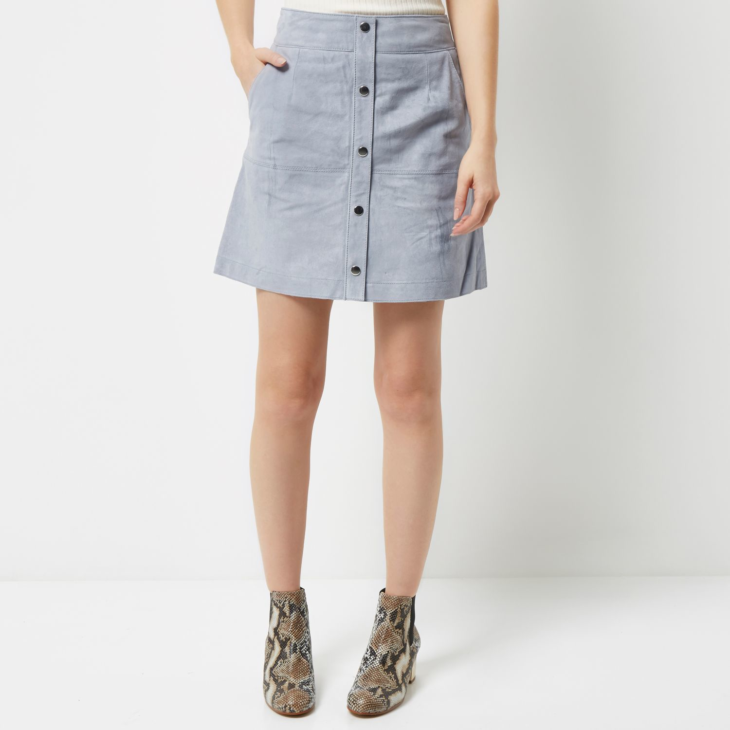 River island Light Blue Suede Button-up A-line Skirt in Blue | Lyst