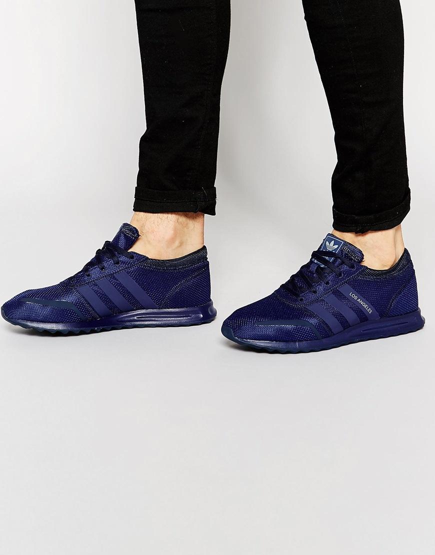 adidas originals los angeles trainers in blue for men lyst. Black Bedroom Furniture Sets. Home Design Ideas