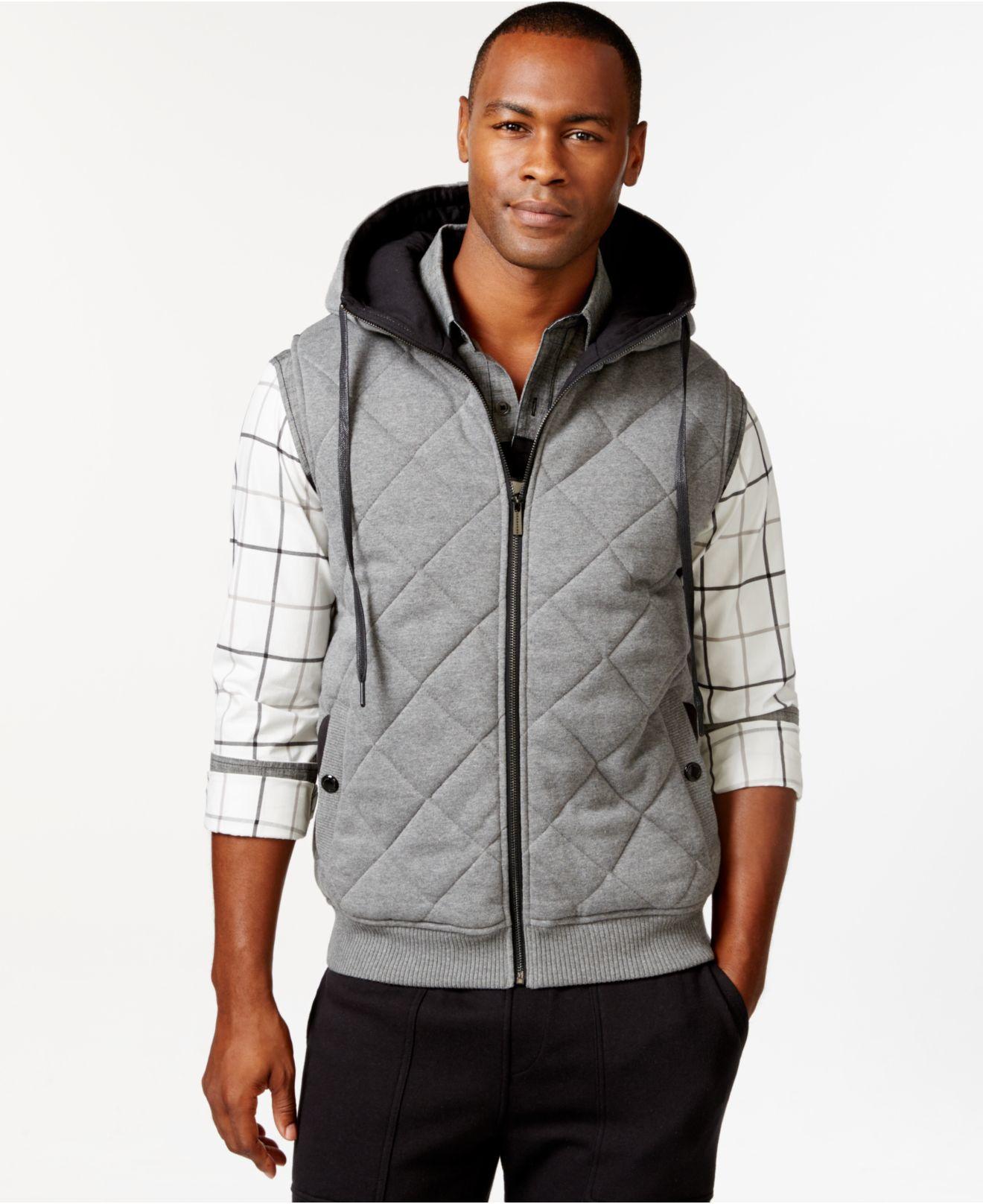Sean John Mens Quilted Hoodie Sweatshirt