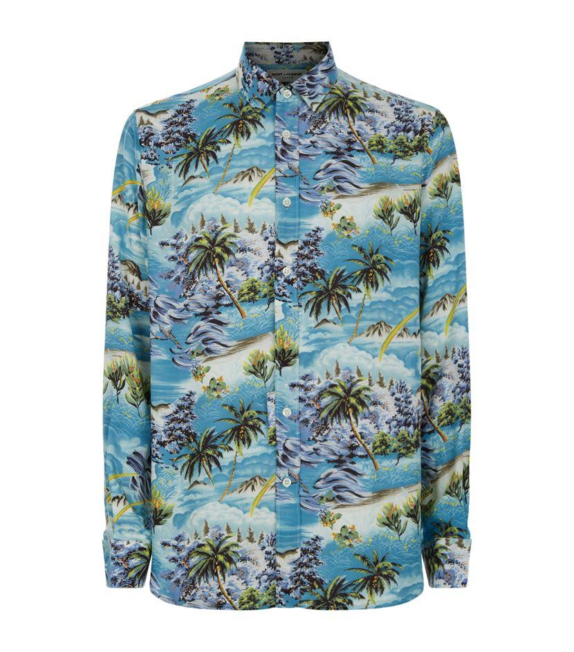 Saint Laurent Hawaiian Print Shirt In Green For Men Lyst