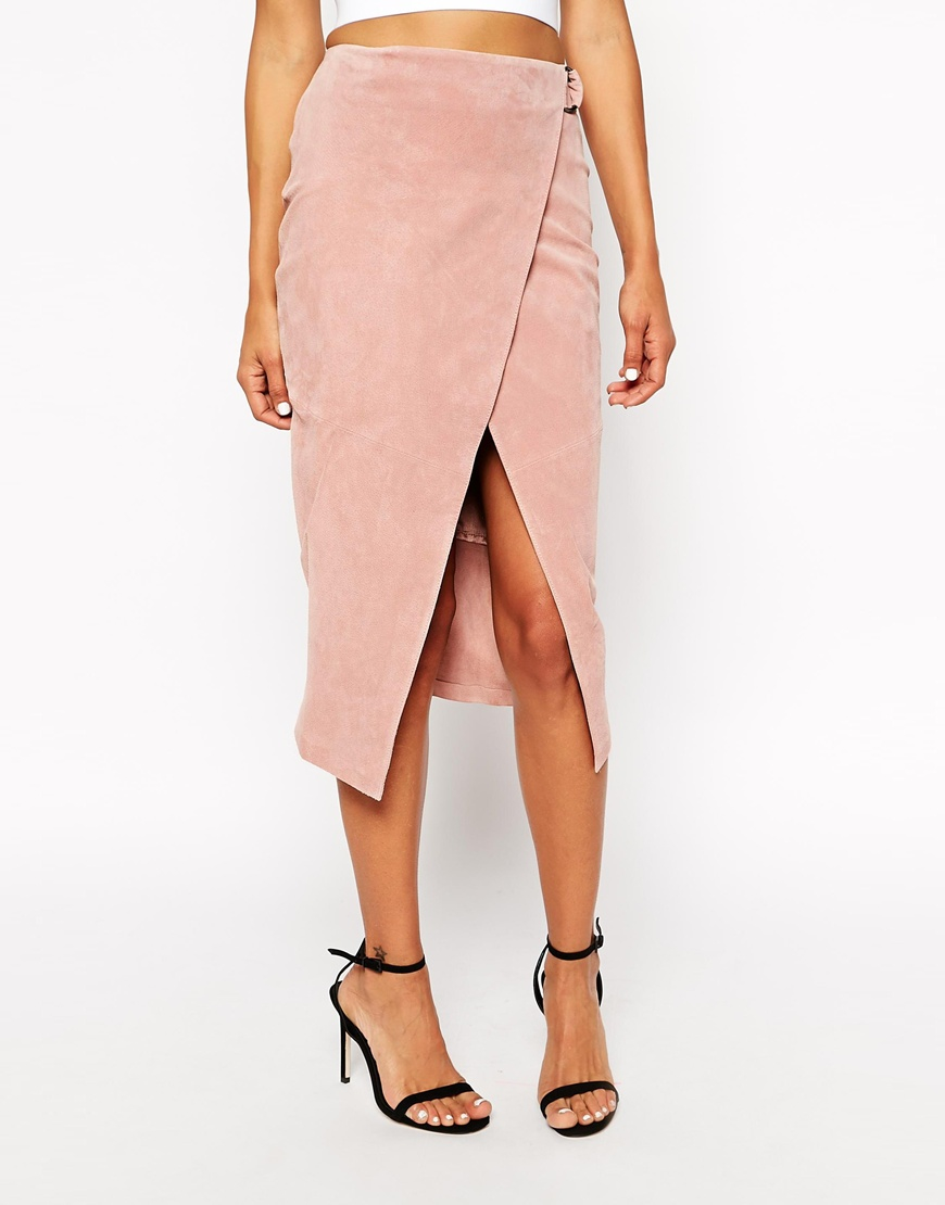 Asos Wrap Pencil Skirt In Suede With D-ring in Pink | Lyst