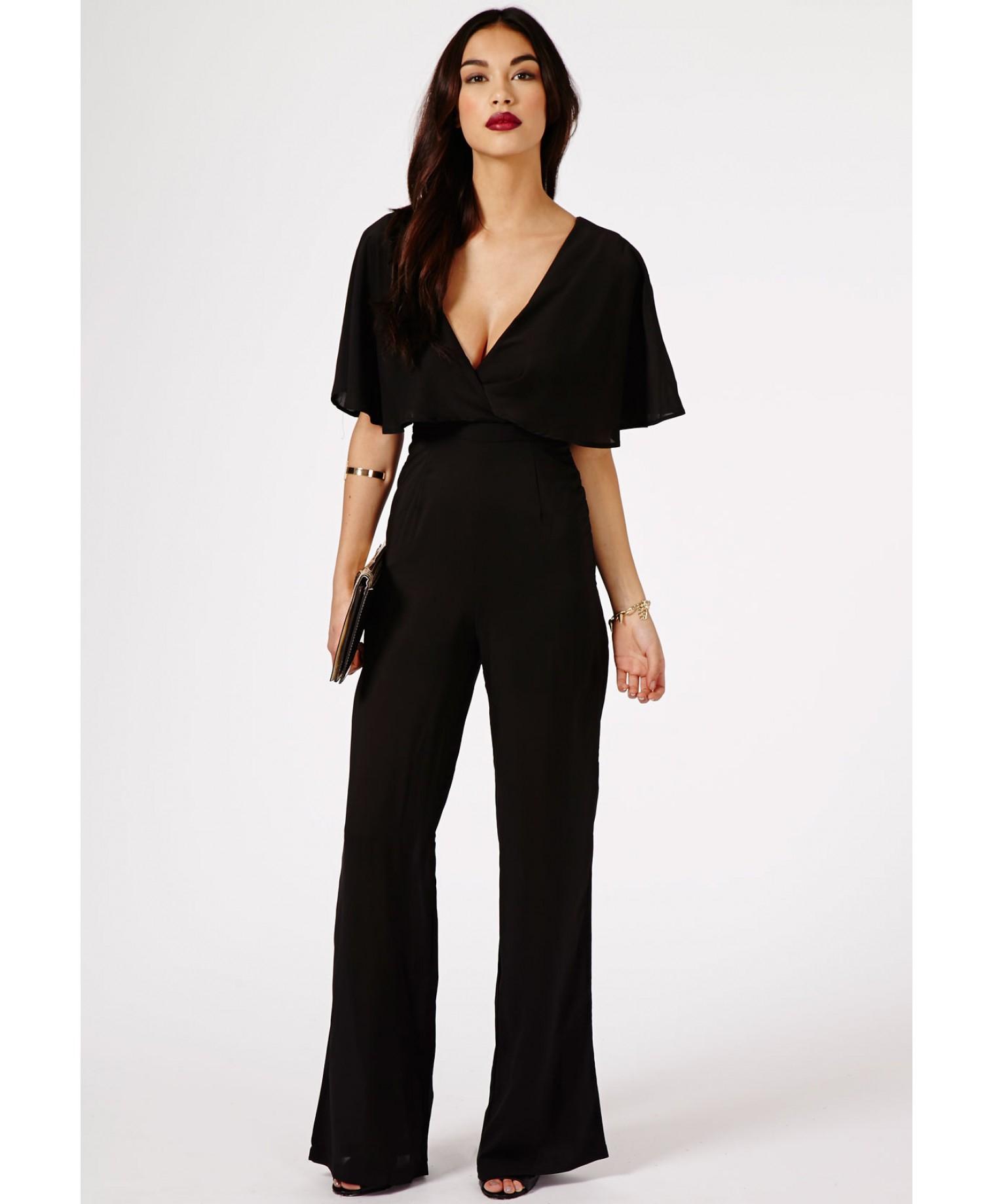 8d3e6c38416d8 Lyst - Missguided Sunita Caped Cross Back Jumpsuit in Black in Black