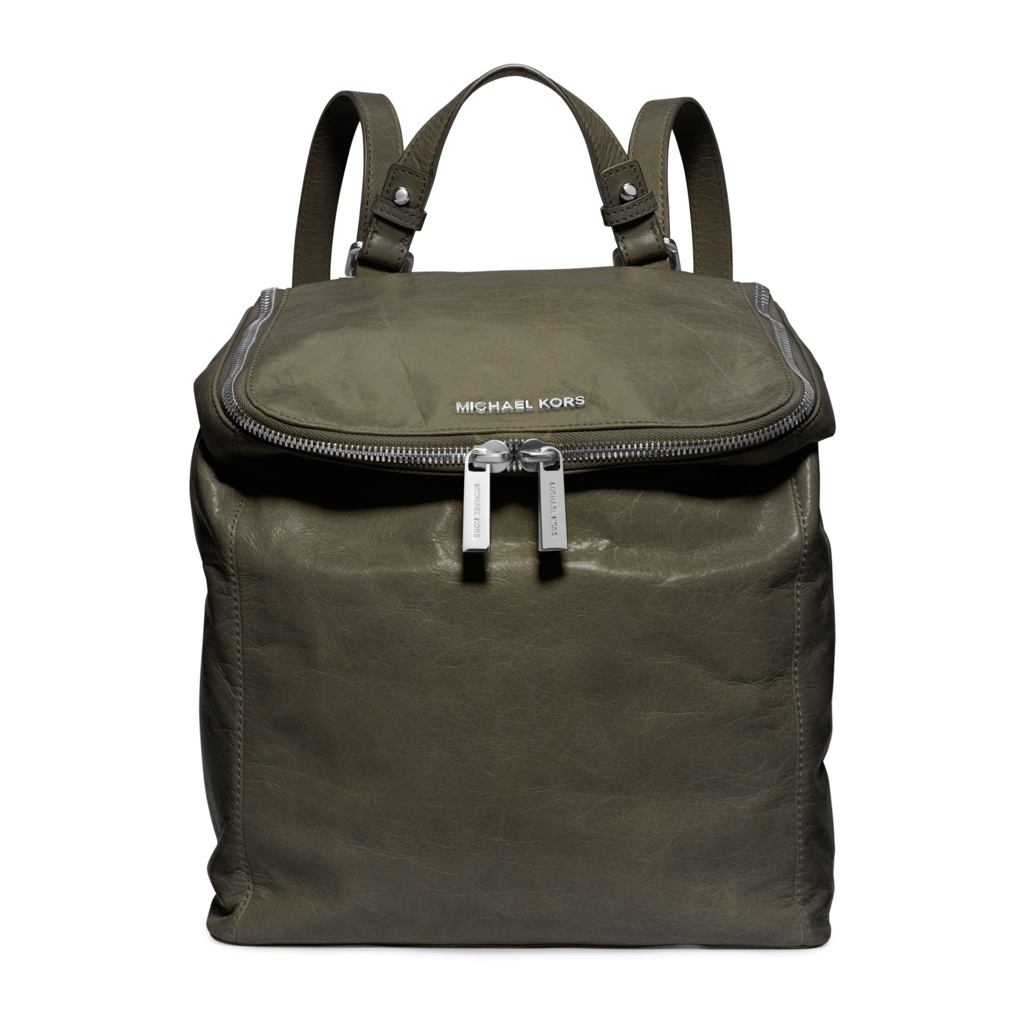 michael kors lisbeth leather medium backpack in green lyst. Black Bedroom Furniture Sets. Home Design Ideas