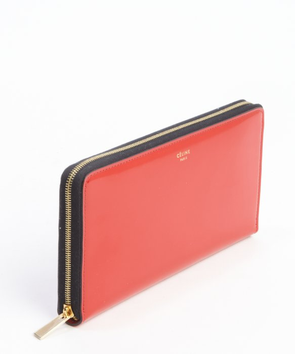 C¨¦line Red Patent Leather Zipper Continental Wallet in Red | Lyst