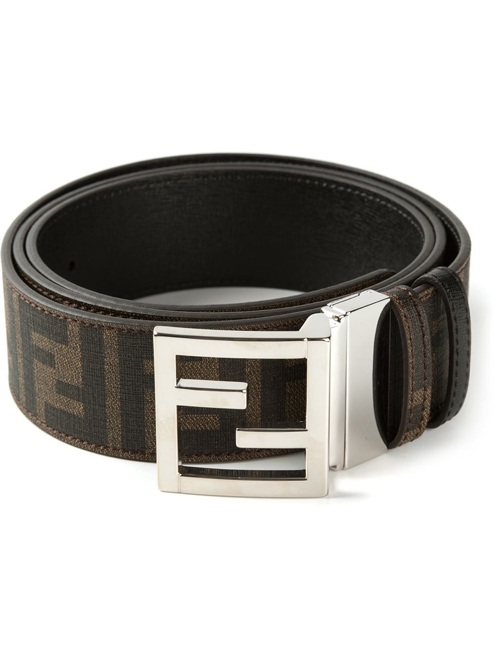 lyst fendi ff logo belt in brown