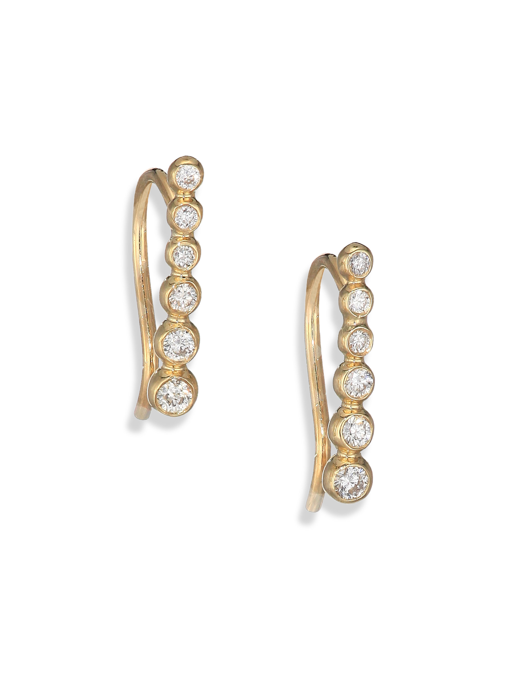 Mizuki 14k Gold Three-Diamond Bar Earrings 9pYUKX8K3J