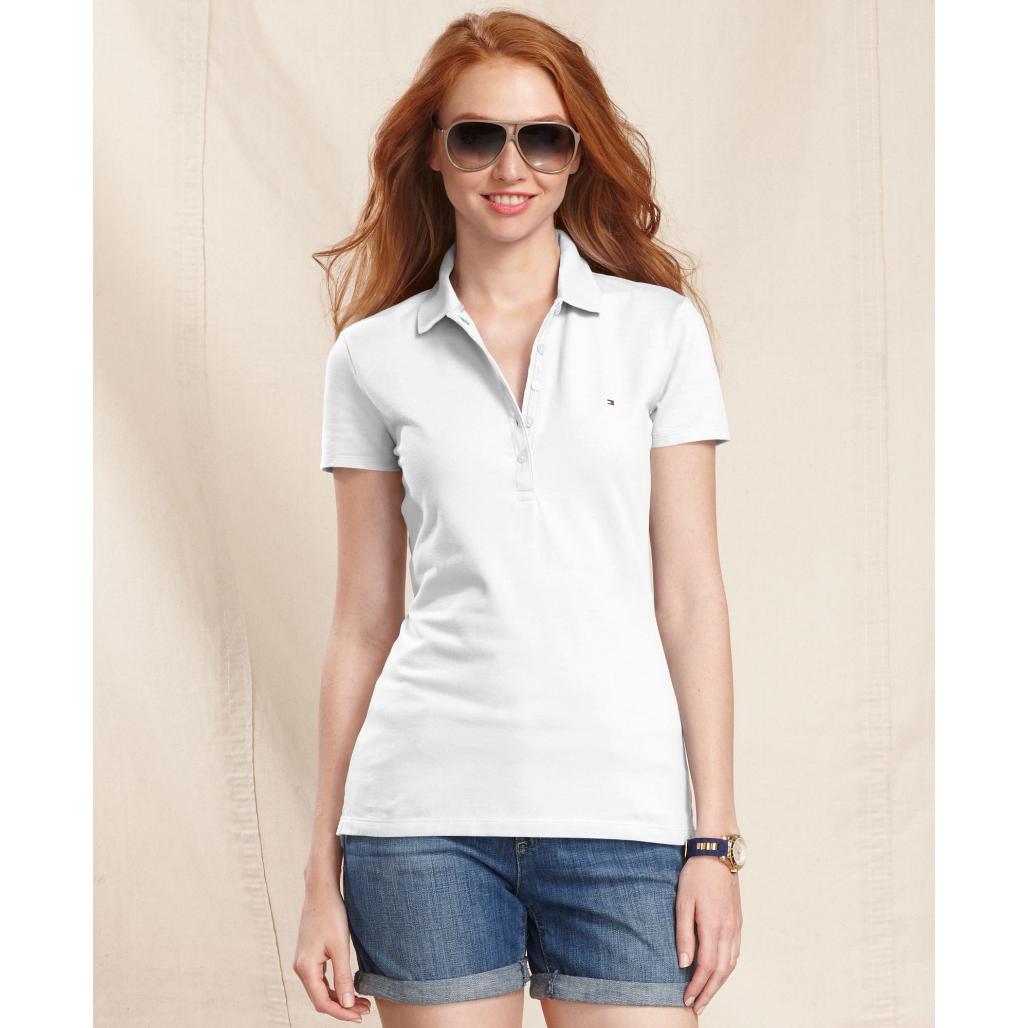 tommy hilfiger short sleeve polo in white lyst. Black Bedroom Furniture Sets. Home Design Ideas