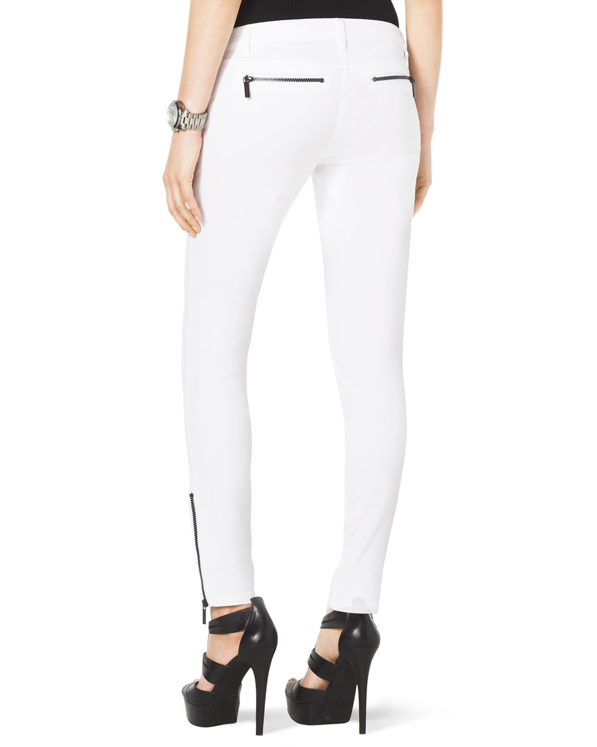 Michael kors Michael Skinny Ankle Zip Jeans in White | Lyst