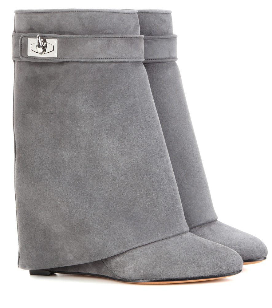 Givenchy Shark Lock Foldover Knee High Suede Wedge Boots