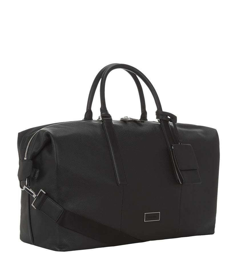 Calvin Klein Leather Weekender Bag In Black For Men Lyst